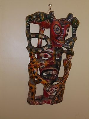 Vintage 20th C Mexico Devil Mask of The Seven Deadly Sins - Spectacular - 23""