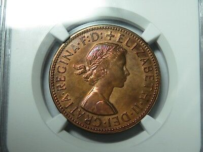 1955 M Australia Penny NGC PF64RB, Rainbow Toning, Very Low Mintage