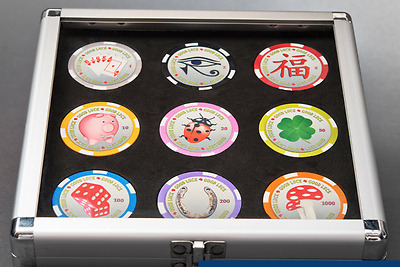 Palau 2012 9 x $1 Poker Chips Good Luck Coin Set Cased with Certificate
