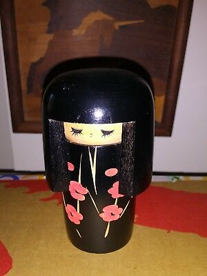 KOKESHI black doll Hand Crafted Japan 4 1/4""