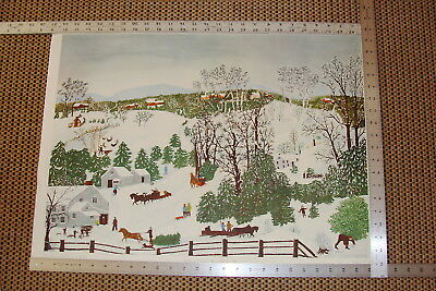 Grandma Moses Out For CHRISTMAS TREES unframed 27x20 FOLK ART Print Winter Scene