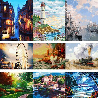AU Canvas DIY Digital Oil Painting Kit Paint by Numbers No Frame Decor 20x16''