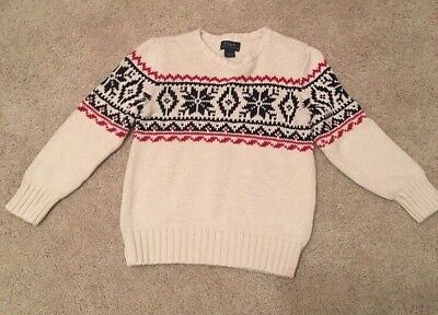 EUC bits Polo Ralph Lauren Knitted Sweater Size 7 Christmas Snowflake Navy/red