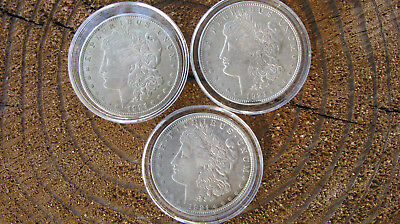 1921 P-D-S Morgan Dollars In Au Condition Lot Of 3