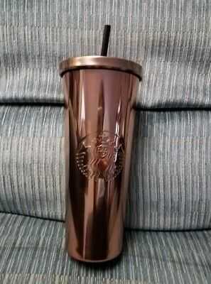 Starbucks 2017 ROSE GOLD Stainless Steel Cold Cup 24oz Tumbler NEW