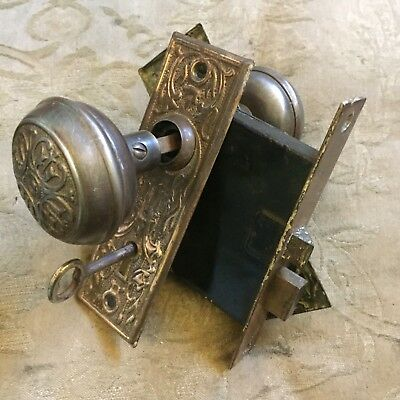 ANTIQUE Chicago Metal  ART DECO/NOUVEAU Lock, Backplates & Door Knobs #2
