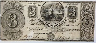 1837 $3 'merchants Bank Of Jackson County Note' Michigan-Signatures-Safety Fund