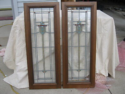 2 Stained Bookcase Glass Cabinet Doors from Milwaukee Bungalow 1920's