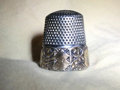 antique sterling silver thimble With Gold Wash