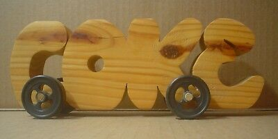 Coca Cola Decorative Handmade Coke Wood Name Sign with Wheels