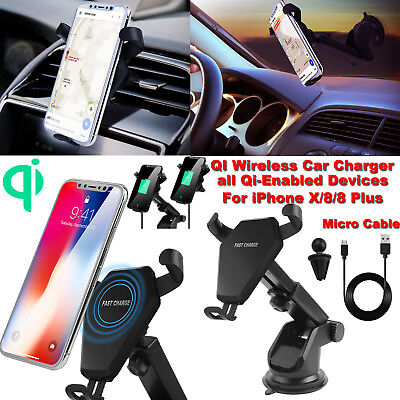 Qi Wireless Fast Car Charger Mount Holder Stand for iPhone X 8 Samsung S8 Note 8