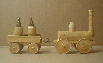 Coca Cola Decorative Handmade Wood Train with Barrels and Metal Coke Bottles