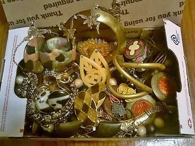 #12 Vintage box lot of mixed jewelry Brass High End Names Bakelite?
