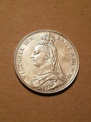 1888 silver great Britain one crown scarce XF almost uncirculated