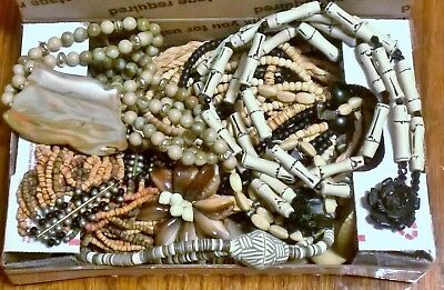 #9 Vintage box lot of Jewelry African style with natural colors 1 lb
