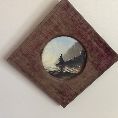 """Vintage Antique 6"""" Round Seascape Painting on Milk Glass Shabby Fabric Frame"""