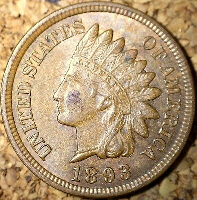 1893 Indian Head Cent - AU+++ 3-STAR RPD, SNOW-11 DOUBLED CLASHES  (H294)