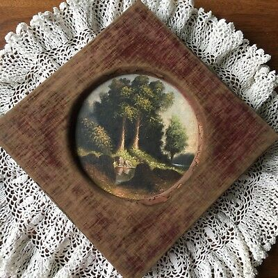 """Vintage Antique 6.5"""" Round Painting Landscape on Milk Glass Shabby Fabric Frame"""