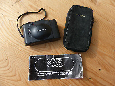 Olympus XA2 35mm Rangefinder Film Camera in Case with Manual - Excellent Shape