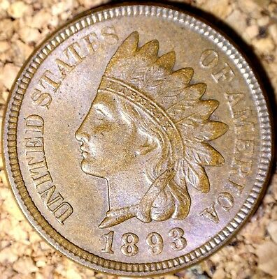 1893 Indian Head Cent - ALMOST MINT RPD, SNOW-16 AU+++ RAW (H295)