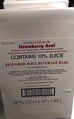 Starbucks Strawberry Acai Refresher Base Juice 3 Unopened 48 oz boxes
