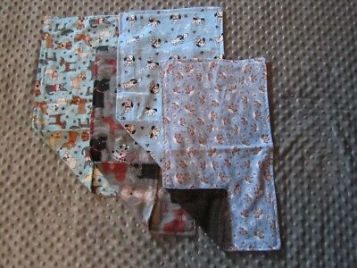 Set of Four Dog/Puppy Double-Sided Flannel Burp Cloths