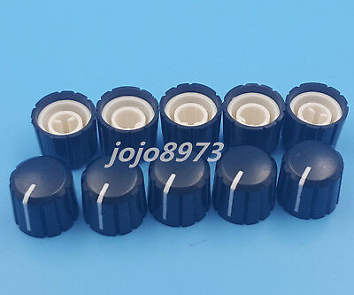 10PCS Black Plastic Knob Half Round Shaft Knob For Potentiometer and Encoder New