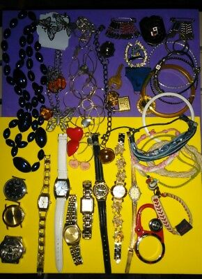Junk drawer lot of jewelry and watches#146