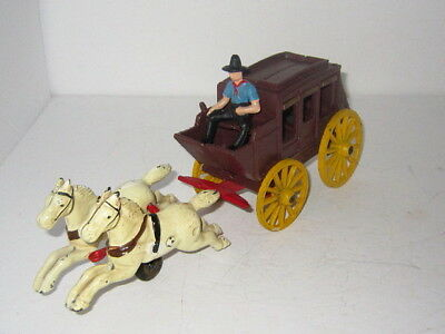 """Large 12"""" Vintage Cast Iron Stagecoach Rider & Horses/Reproduction/NICE!"""