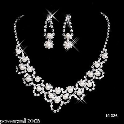 Custom Made Bridal Pageant Necklace Earrings Jewelry Set Wedding Accessories #Y!