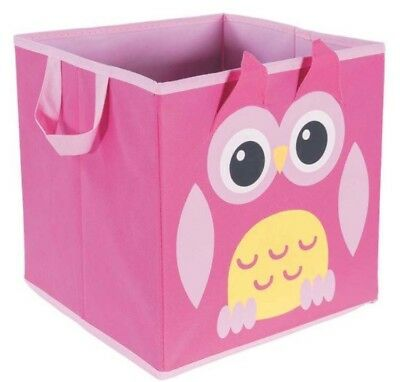 Pink owl storage bin toy organizer box