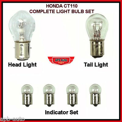 Honda Ct110 Ct 110 Postie Bike-Full Head Light Tail Light Bulb Indicator Set