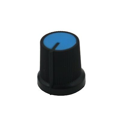 10PCS Blue Face Plastic for Rotary Taper Potentiometer Hole 6mm Black Knob New