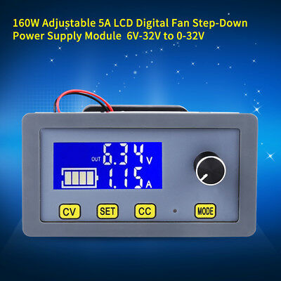 160W Adjustable 5A LCD Digital Fan Step-Down Power Supply Module 6V-32V to 0-32V