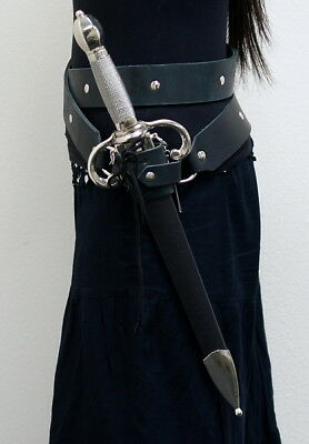 Black Leather Double Round Medieval Style Sword Belt with Carrying Frog