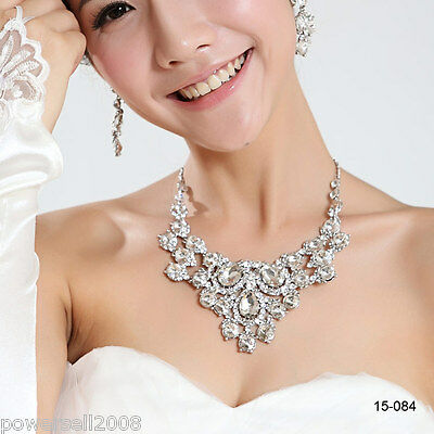 Custom Made Bridal Pageant Necklace Earrings Jewelry Set Wedding Accessories @M!
