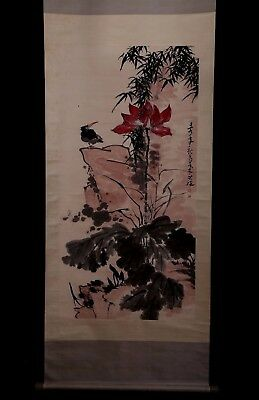 Unusual Large Old Chinese Scroll Hand Painting Lotus Bird Marked LiKuChan PP960