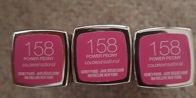 3× Maybelline Lippenstift Farbe Sensationell Power Pfingstrose 158