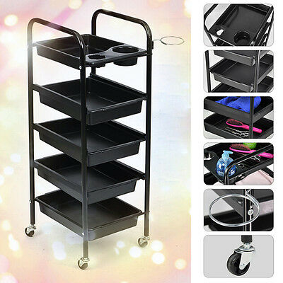 Hairdresser Salon Spa Hair Trolley 5 Tiers Rolling Storage Cart Organizer AU