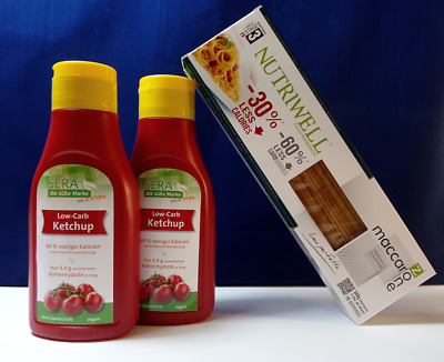 Nutriwell Spaghetti LOW-CARB Nudeln + 2x 500ml Sera LOW-CARB Ketchup