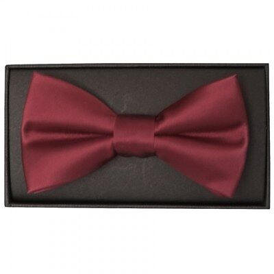 Hand Made Burgundy Mens Bow Tie Pre Tied  wedding Prom adjustable Dickie Bow