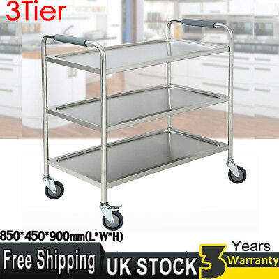 Large 3Tier Clearing Wheel Trolley 900X850X450mm Stainless Steel Catering Silver