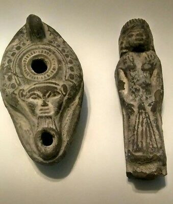 ANCIENT ROMAN Egyptian OIL LAMP W/ FACE & LADY STATUE FIGURINE ANTIQUE  STONE