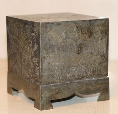 19th Century Antique Chinese Pewter Tea Caddy Box