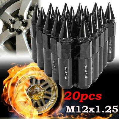 20Pcs Aluminum M12X1.25 Wheels Rims Lug Nuts Spiked 60mm Extended Tuner Black US