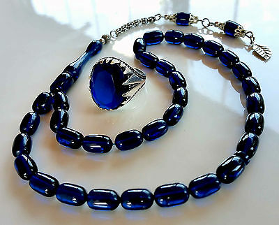 Blue Amber Bakelite 33 Prayer Beads Misbaha Tasbih & Silver Ring