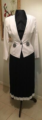 Vintage Anthea Crawford Suit with Fully Lined Jacket and Pleated Skirt Size 10