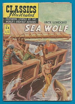Classics Illustrated Comic Book  # 34  The Sea Wolf   by  Jack London   #807