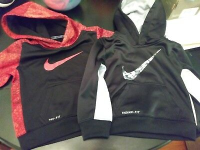 Nike  Boy's 2T  Hoodie  Jacket Black And Grey Therma Fit And Red & Black Dri Fit