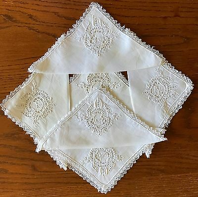 Antique Embroidered Napkins Figural Rooster Dessert As Is Set Of Six Filet Lace